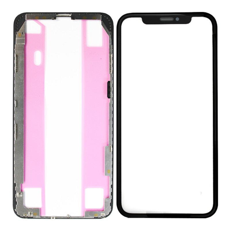 iPhone XS Max Front Glass (Pre-installed OCA Glue) & LCD Frame (Pre-installed Adhesive) Set