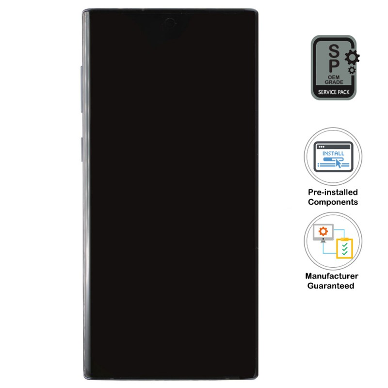 Galaxy Note 10 LCD Assembly With Frame (Pre-installed Small Components) - Aura Black (OEM Grade)