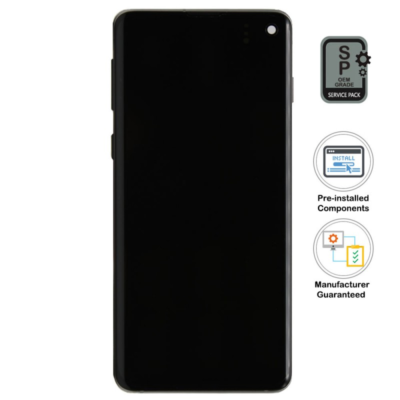 Galaxy S10 LCD Assembly With Frame (Pre-installed Small Components) - Prism Black (OEM Grade)