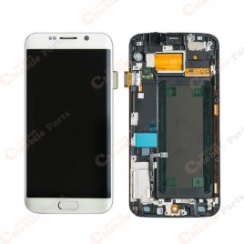 Galaxy S6 Edge LCD Assembly With Frame (All US Models) – White Pearl